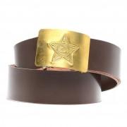 Ремень солдатский кожаный коричневый с латунной бляхой