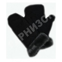 Рукавицы двупалые из натурального меха черного цвета