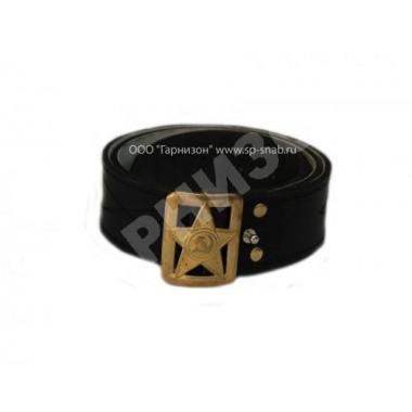 Ремень генеральский кожаный черного цвета со звездой