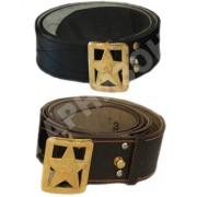Ремень генеральский кожаный коричневого цвета со звездой