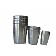 Набор из 4 стаканов металлических маленький в кожаном чехле