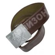 Ремень солдатский брезентовый обливной с бляхой серебристого цвета