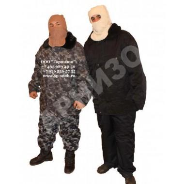 Костюм меховой черного цвета (куртка+полукомбинезон)
